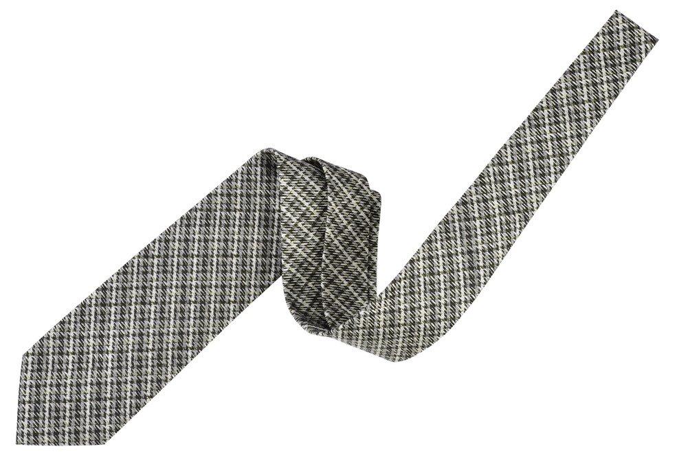 Tom Ford Black Silver Check Neck Tie