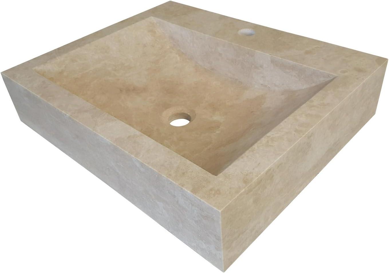 Rectangular Natural Stone Vessel Sink Light Travertine Amazon Com