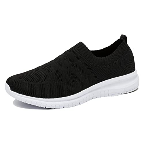 e5e685e099aa Oveatube Men s Athletic Walking Shoes Casual Mesh-Comfortable Lightweight  Work Slip-on Sneakers Black