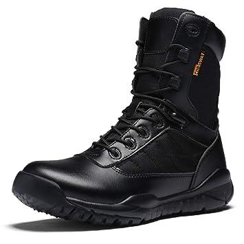 YAN Botas para Hombre Negro, Botines de tacón bajo Zapatos Calientes de Cuero de Invierno