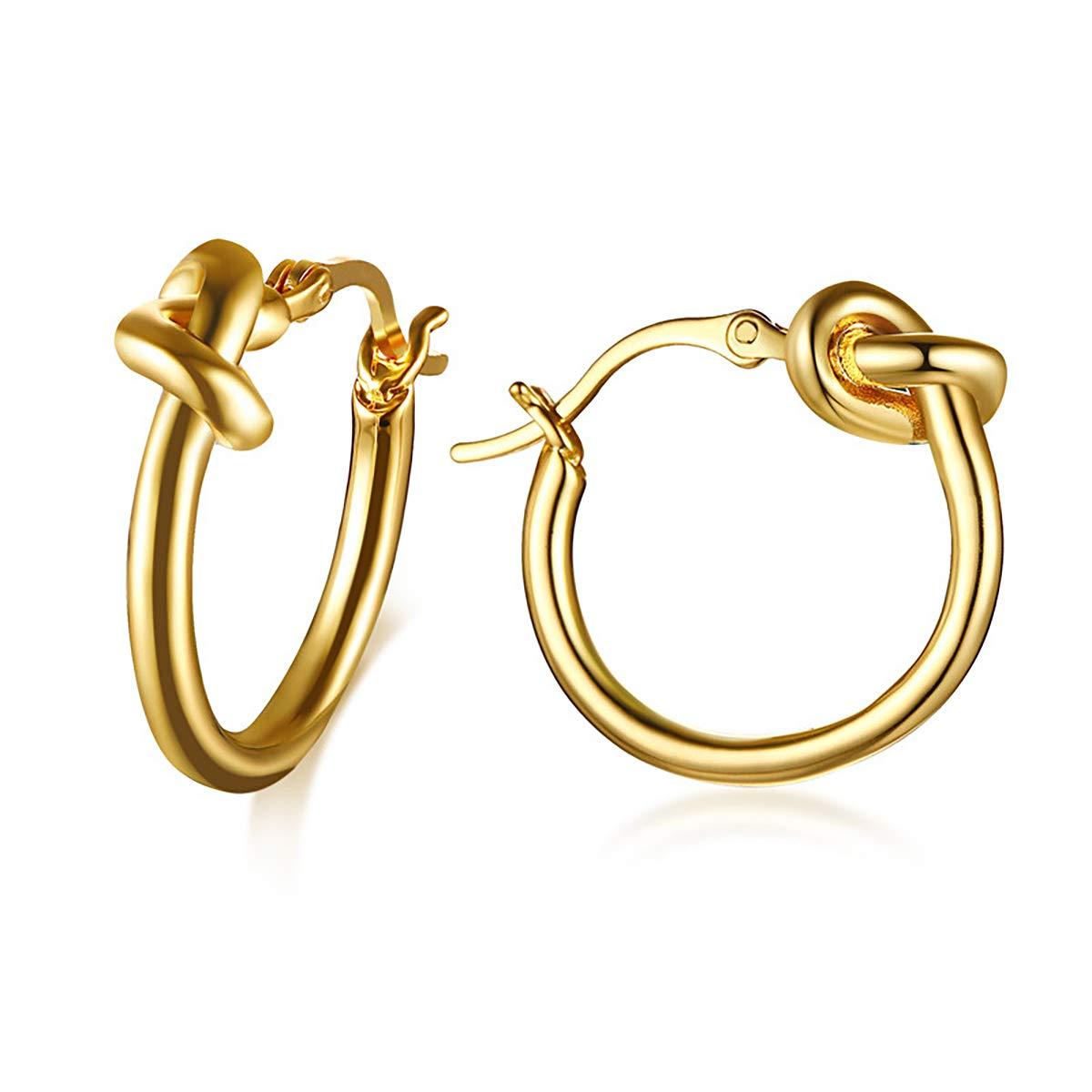 Women Girls Love Knot Hoop Earrings Stainless Steel Round Circle Dangle Earrings