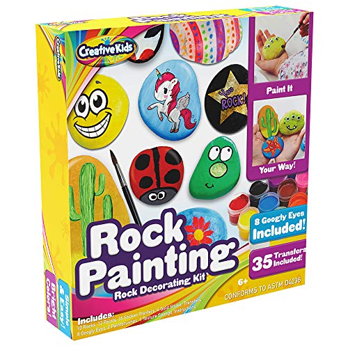 Rock Painting Outdoor Activity Kit for Kids - DIY Art Set w/ 10 Hide and Seek Stones, 12 Acrylic Paint Tubes & 2 Brushes - Fun Googly Eyes, Easy Transfer ()