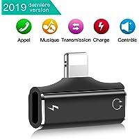 Ossky Adaptateur de Casque pour iPhone, Séparateur 2 en 1 Audio Connecteur pour iPhone 7/8 Plus/XR/X/XS Max / 11/11 Pro / 11 Pro Max [Audio + Charge + Appel + Volume Contrôle+ Transfert de données]
