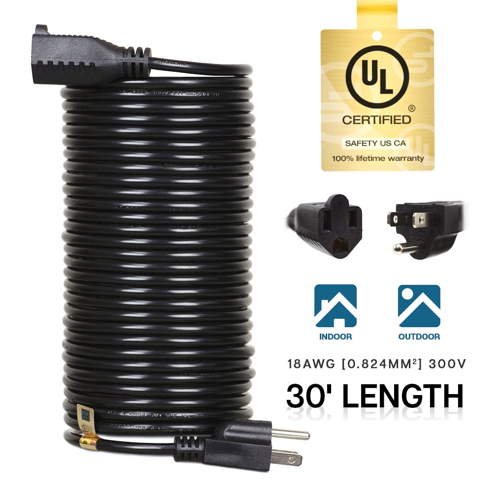 eTopLighting 30ft Power Extension Cord Cable Outlet Saver, UL Listed, Indoor/Outdoor, 18AWG [0.824mm²] 300V, APL1745 by eTopLighting (Image #1)