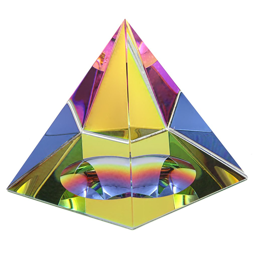 BTSKY Crystal Iridescent Pyramid With Gift Box Rainbow Colors Sparkle Crystal Home Office Ornaments Decoration (2.4inch)