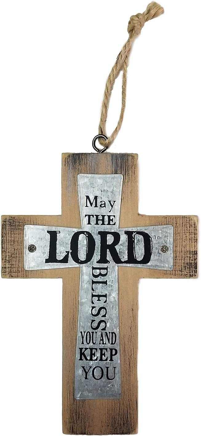 Decorative Small Wooden Metal Wall Cross, 5 Inch, May The Lord Bless And Keep You, Farmhouse Decor, Inspirational Hanging Rustic Look Western Home Family Art