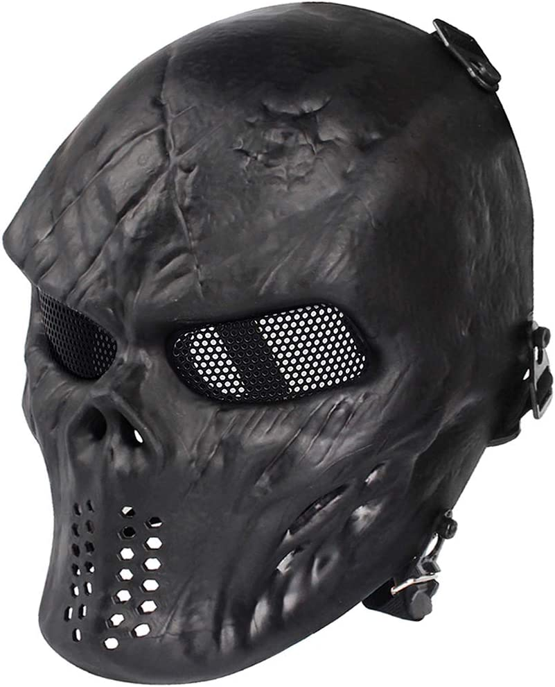 Amazon Com Anyoupin Paintball Mask Skull Full Face Airsoft Mask With Mesh Army Fans Supplies M06 Tactical Mask For Halloween Paintball Airsoft Cs Game Cosplay And Party Bk Sports Outdoors