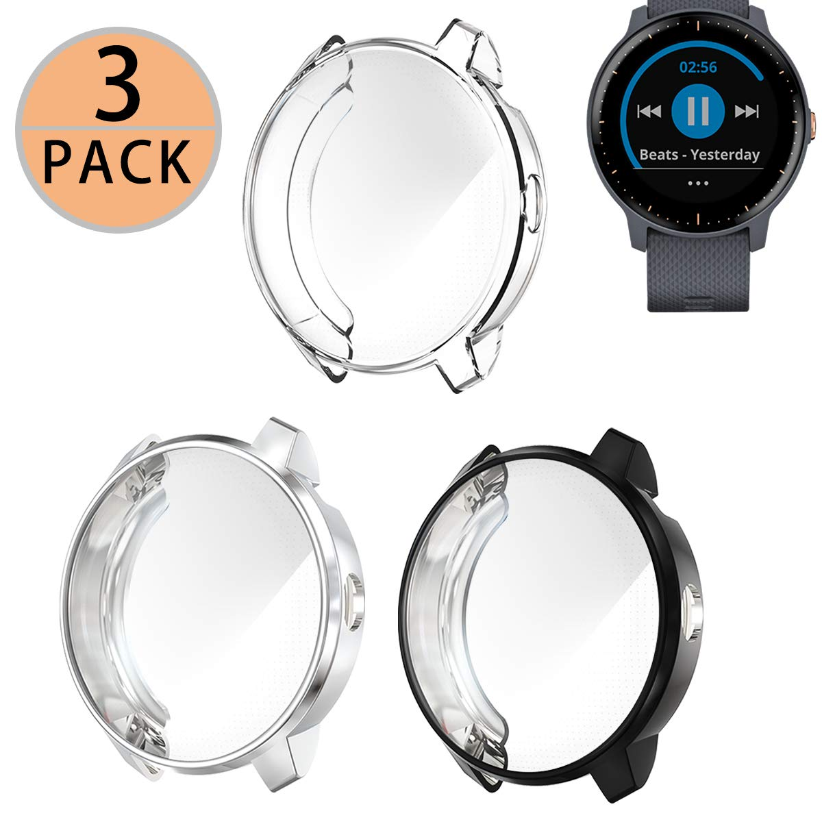 3 Pack Haojavo Compatible with Garmin Vivoactive 3 [Music] Screen Protector Case, Soft Plated TPU Scratch-Proof Full Protective Protector Cover for Garmin Vivoactive 3 Music Smartwatch Accessories by Haojavo