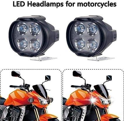 2X 12W 4 LEDs Universel /Étanche Moto Phare Conduite Brouillard Spot T/ête Lumi/ère Spotlight Lampe Scooter Spot Lumi/ère Auxiliaire Lumi/ères 50000 heures Super longue dur/ée de vie Projecteur de motos