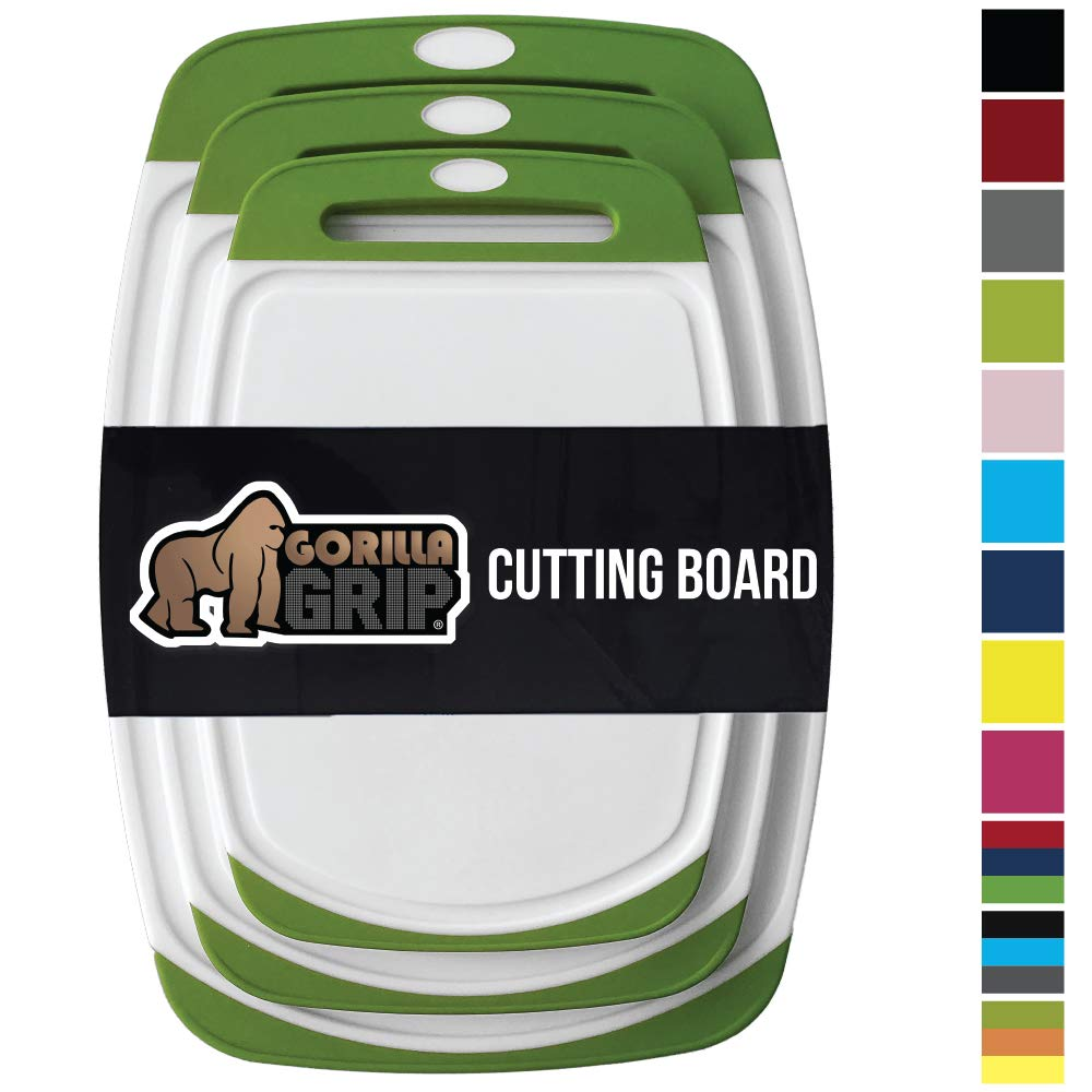 GORILLA GRIP Original Reversible Cutting Board, 3 Piece, BPA Free, Dishwasher Safe, Juice Grooves, Larger Thicker Boards, Easy Grip Handle, Non Porous, Extra Large, Kitchen, Set of 3, Green