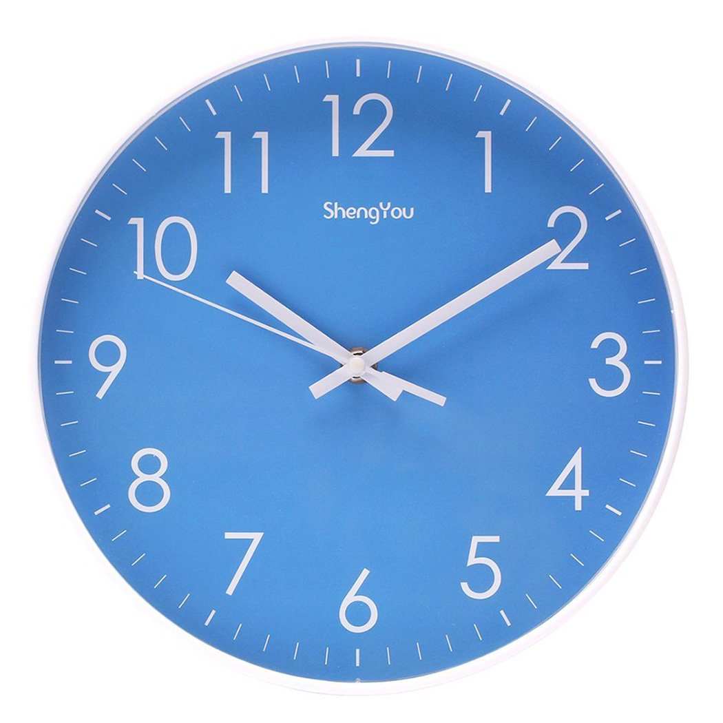 10-Inch Modern Simple Kids Wall Clock Indoor Non-Ticking Quartz Quiet Sweep Movement Battery Operated Wall Clock for Office,Bathroom,Living Room Decorative Blue