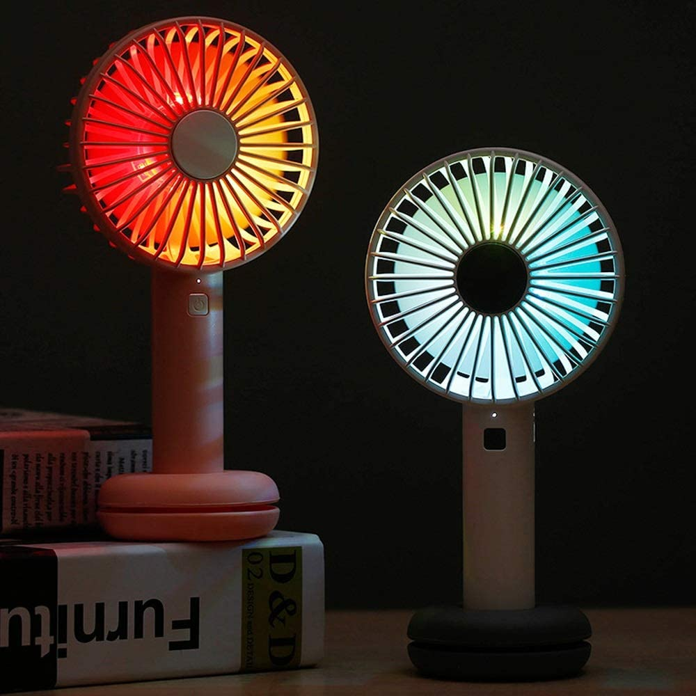 Mini USB Table Desk Personal Fan Donut Night Light Fan Handheld Portable Foldable USB Rechargeable Metal Design Quiet Operation USB Cable Fan Color : Pink, Size : One Size