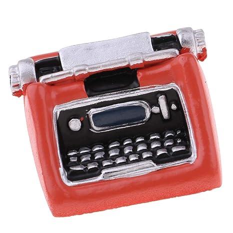 F Fityle Accesorios de Sala de Estudio Máquina de Escribir Modelismo para Escala 1/12