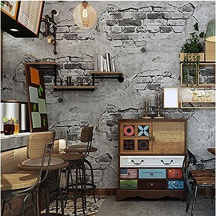 Yosot Retro 3d Cement Wall Brick Effect Waterproof Wallpaper