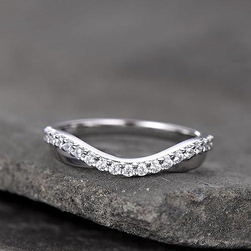Amazon Com Curve Wedding Band Plain Gold Band Unique Wedding Ring