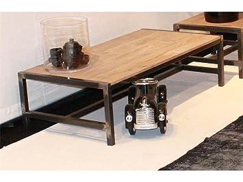 70x140cm Couchtisch Eiche Stahl Schwarz Wohnzimmer Tisch
