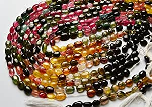 1 Strand Natural 14 Pulgadas AAA super mejor raro natural turmalina multi color suave Nuggets 7 A 8 mm