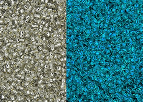 8/0 Toho Japanese Glass Seed Beads - Glow In The Dark - Silver Lined Crystal/Blue Splash #2701S (28g -