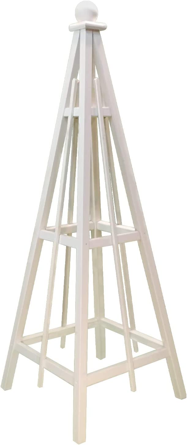 "Woodbrute White Garden Tower Obelisk 70"" Tall, Pine Obelisk with White Stain, Solid Wood Vertical Gardening Structure for Plant Support and Garden Design. 70"" Tall with 24"" Base, Solid Wood."