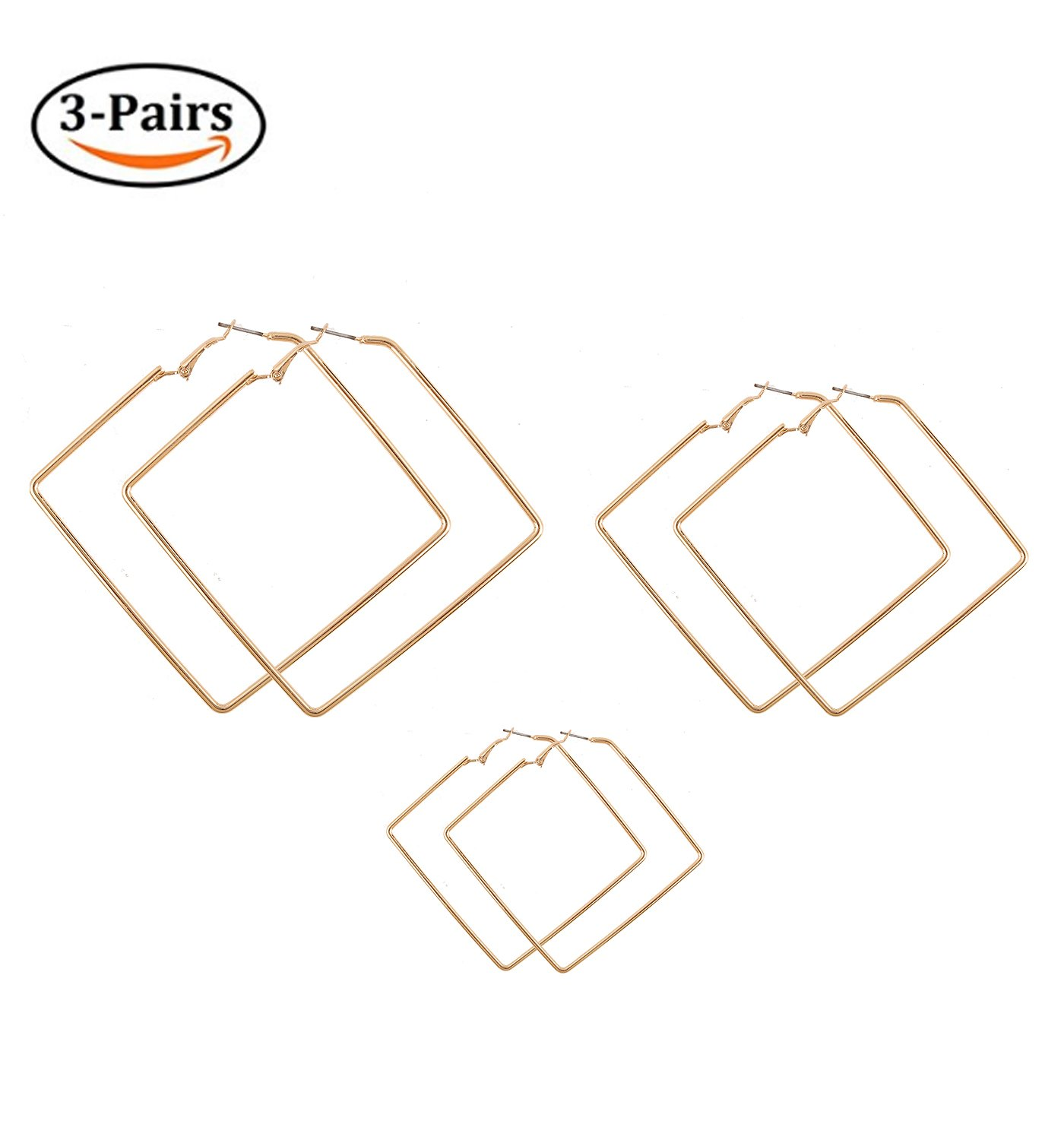 Square Hoop Earrings 3 Pairs Geometric Hoop Earrings Dangle Earring Set For Women Girls LPON B07D1H2JJZ_US