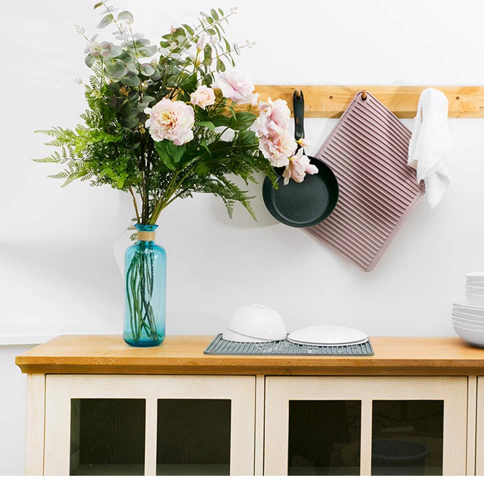 Esterilla de secado de silicona para platos de cocina, remache de silicona, escurridor de platos, alfombrilla para fregadero o remache de silicona grande, ...