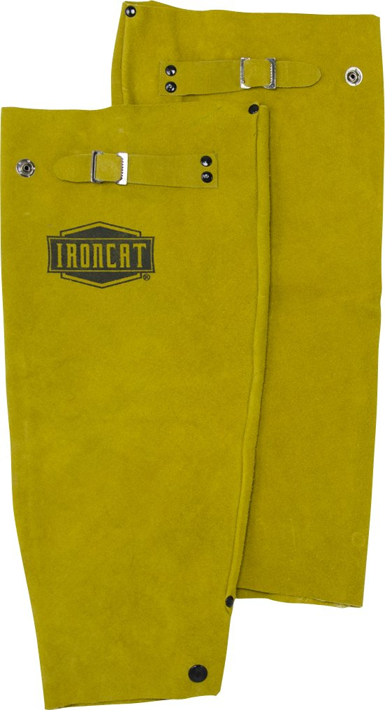 IRONCAT 7020 Heat Resistant Leather Sleeve with Snap Closure, 18'' Length (1 Pair)