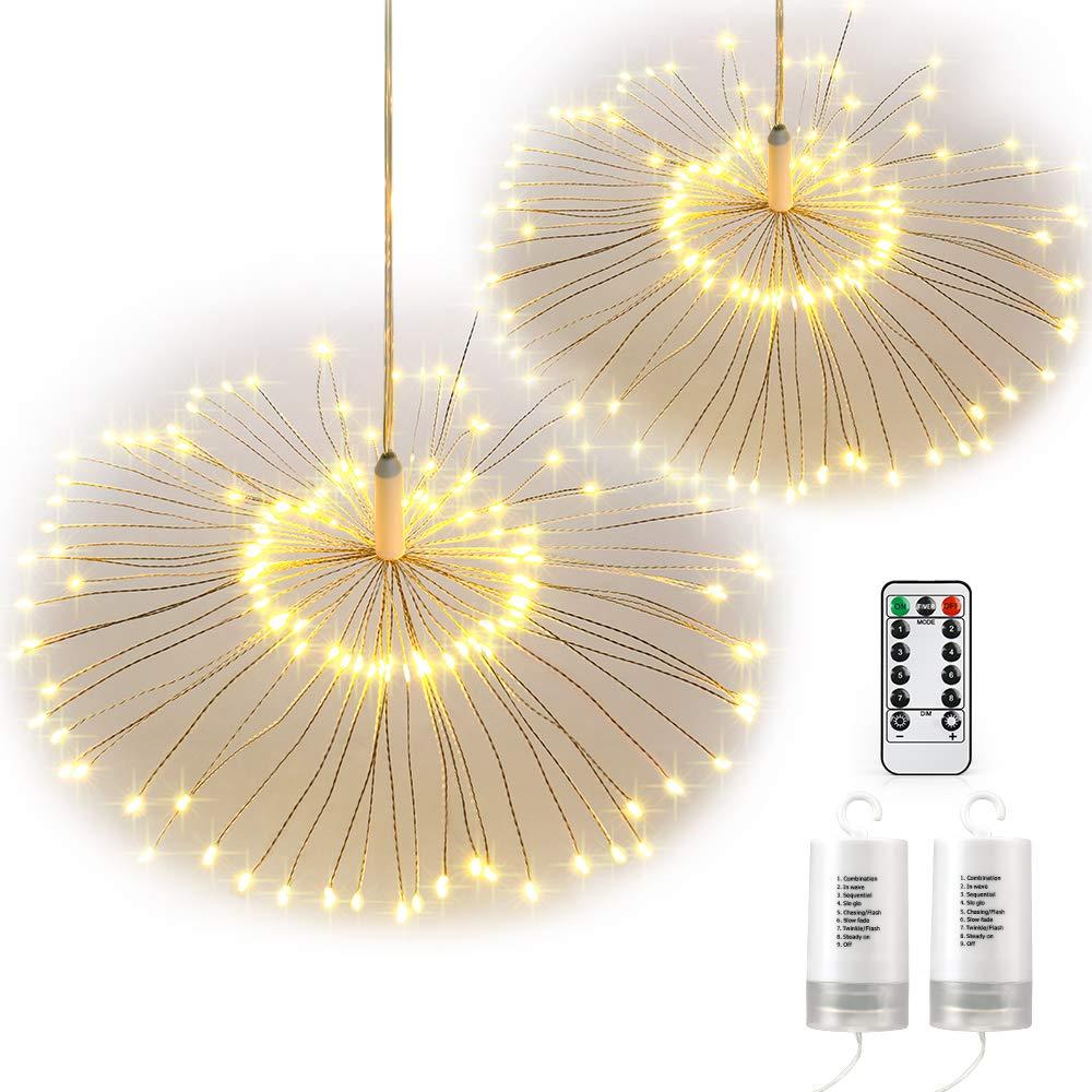 Qedertek 2 Stü ck Batterie Lichterketten mit Fernbedienung 120 LED Feuerwerk Lichter mit 8 Modi Beleuchtungseffekt Ideal fü r Weihnachten Dekoration (Warmweiß )