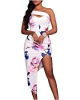 Eloise Isabel Fashion mulheres blooming floral imprimir boho dress bodycon elegante sexy side dividir vestidos de