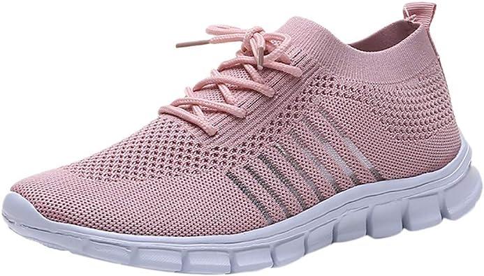 Zapatos Deportivas Elasticas Mujer,Unisex Zapatillas de Deporte Hombre Sneakers Mujer Calzado Deportivo Zapatos para Correr Running,Calzado Deportivo para Mujer,Rosado,35: Amazon.es: Zapatos y complementos