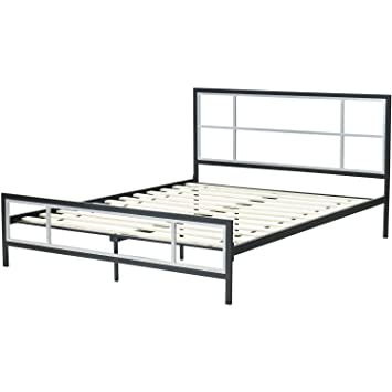 hanover hbedlinc qn lincoln square metal platform bed frame queen black
