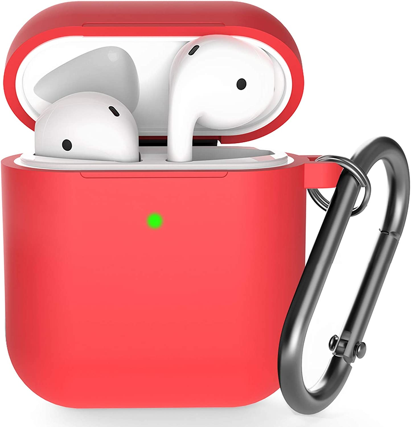 Airpods Case , BELONGME Airpods Silicone Case Cover with Keychain, 360°Protective AirPods Accessories Kits Shockproof Airpods Case Compatible with Apple Airpods 2 &1 (Front LED Visible)