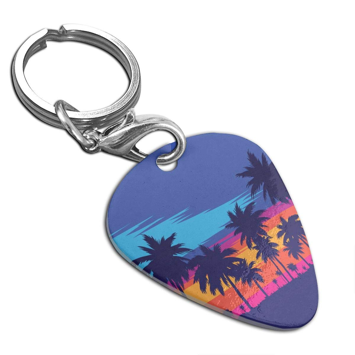 Coconut Tree Sunset Custom Guitar Pick Pendant Necklace Keychain