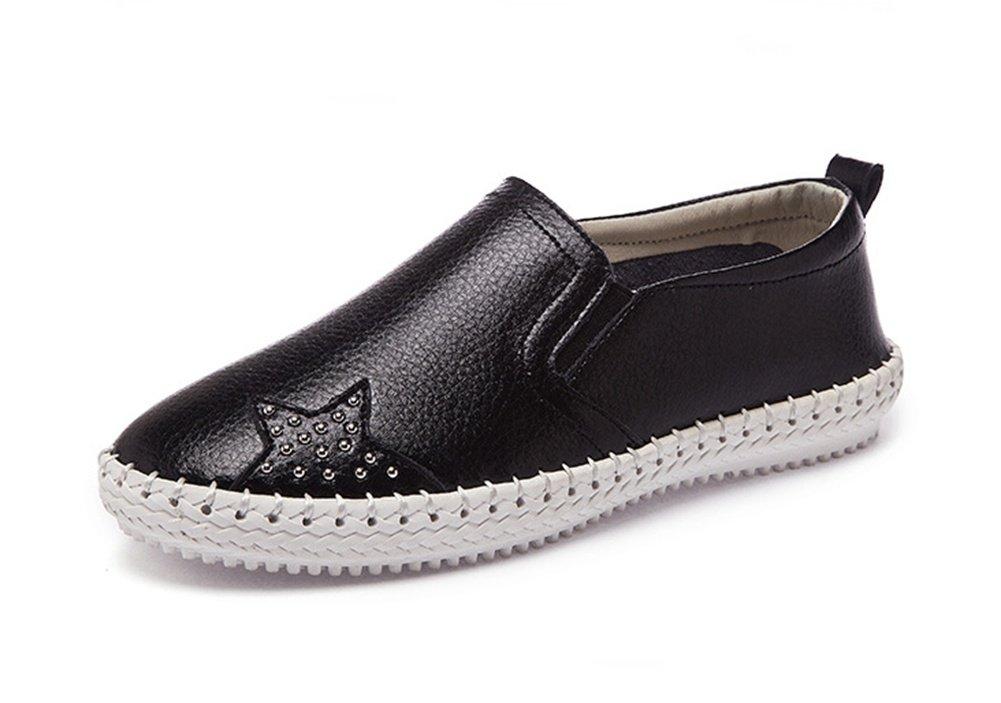 XIE Primavera Verano Otoño Rhinestones Hilo de Coser Recorte Transpirable Zapatos de Mujer Moda Corte bajo Zapatos Blancos Planos Mujer 35-39, Black, 38 38|black