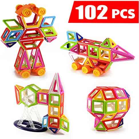 Magnetic Tiles Building Blocks 102 pcs with Wheels and Ferris Wheel Set For Kids, Educational Toys for Creativity and Learning - Mini Magical Magnet by Habest