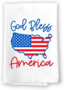 Honey Dew Gifts Kitchen Towels, God Bless America, 27 inch by 27 inch, 100% Cotton, Multi-Purpose Flour Sack Towels, Home and Kitchen Decor, Housewarming, Birthday, Fourth of July Gifts