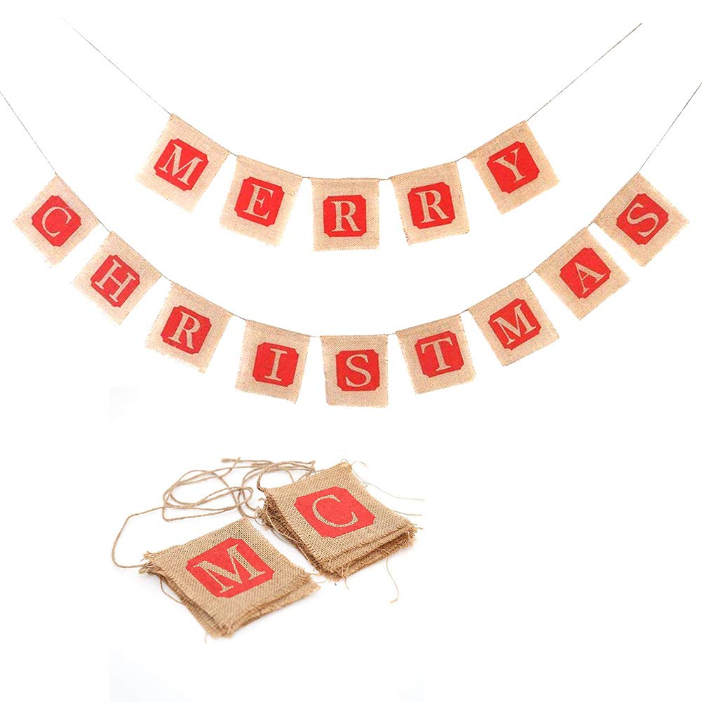 Merry Christmas Jute Burlap Banner for Fireplace, Farmhouse Christmas Decorations Clearance