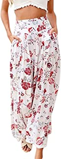 Armfre Bottom Women's Wide Leg Palazoo Pants Floral Print Pleated Loose Stretch Wide-Cut Pull-on Beach Pant Soft Breathable Casual Cropped Trousers with Pockets