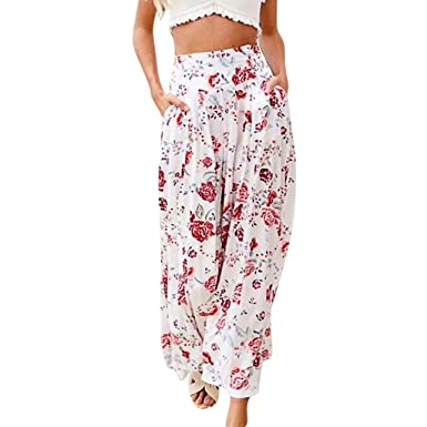 ba293248b5 ♞Deadness-Womens Women's Casual Floral Print Wide Leg Pants Drawstring Pants  Boho High Waist Summer Beach Pants Palazzo Pants at Amazon Women's Clothing  ...
