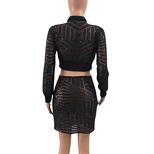 3459c2a5efc0b Amazon.com  Sunward Women s Long Sleeve Zip Crop Top Midi Skirt Seguins  Club Dresses Two Piece Set  Clothing