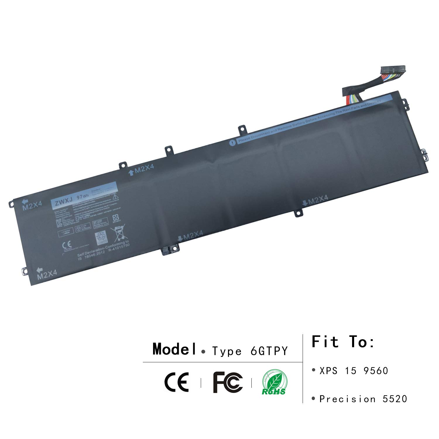 ZWXJ New Laptop Battery Type 6GTPY(11.4V 97WH) For Dell XPS 15 9560 Precision 5520 M5520 5XJ28 6GTPY