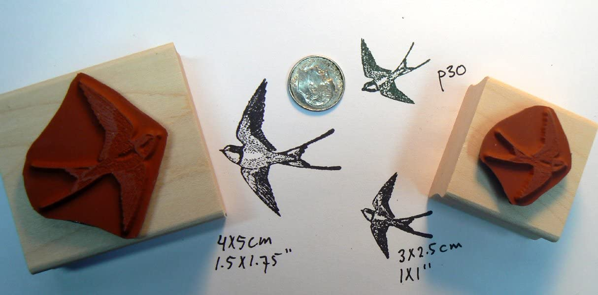 2 Swallow birds rubber stamps P30 small and larger P30