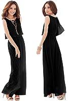 Unomatch Women Chiffon Bohemian Skirt Style Dress Black