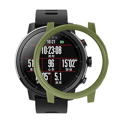 Qomomont Caja de la PC + Protector de Pantalla Caja de Reloj Adecuado para Xiaomi Huamei AMAZFIT 2 / 2S Stratos Watch (Verde)