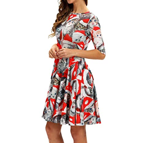 Christmas Series Dress-Women Fashion Casual Half Sleeve Xmas Printing Vintage Swing Mini Dress at Amazon Womens Clothing store: