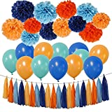 Party Decorations Kit - Tissue Paper Pom Poms, Tissue Paper Tassel, Balloons Party Supplies for Birthday, Bachelorette Party, Festivals, Carnivals, Graduation