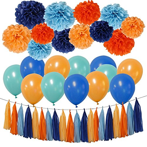 Party Decorations Kit - Tissue Paper Pom Poms, Tissue Paper Tassel, Balloons Party Supplies for Birthday, Bachelorette Party, Festivals, Carnivals, -