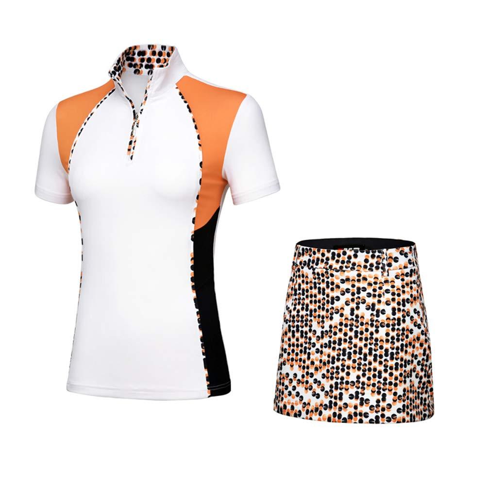 Tenflow ゴルフウェア レディース ゴルフスカート ゴルフシャツ 女性用 半袖 上下セット 021-xsty-tz009(M セット) M セット B07CZ7NVXY