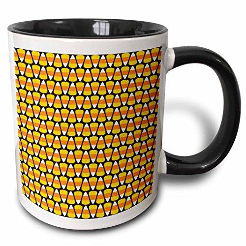 - 3dRose Anne Marie Baugh - Halloween - Orange, Yellow, and White Halloween Candy Corn Pattern - 15oz Two-Tone Black Mug (mug_216849_9)