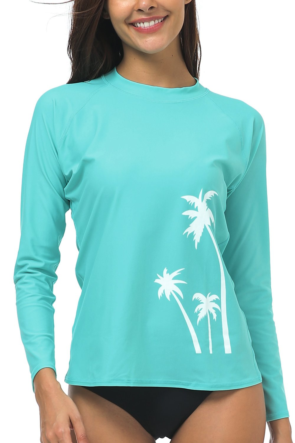 Wetopkim Women's Long Sleeve rushguard Surfing Swimwear Athletic Swim Shirts Swim Tops