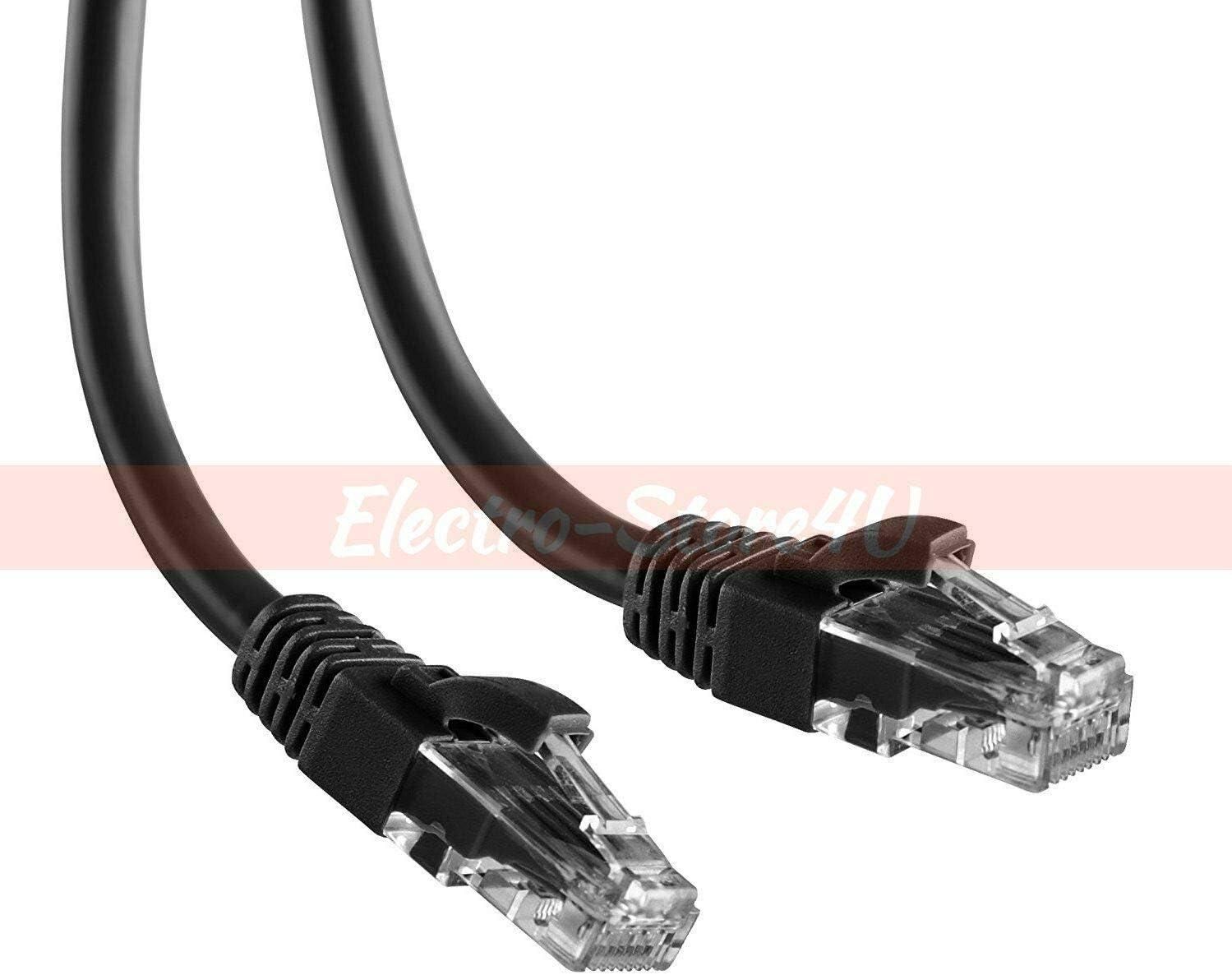 Cat6 Ethernet Patch Cable 1.5 3 5 7 10 15 20 25 30 50 75 100 200 Lot LAN Black 100ft.